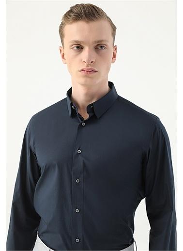 Damat Damat Slim Fit Mavi Düz Gömlek Lacivert